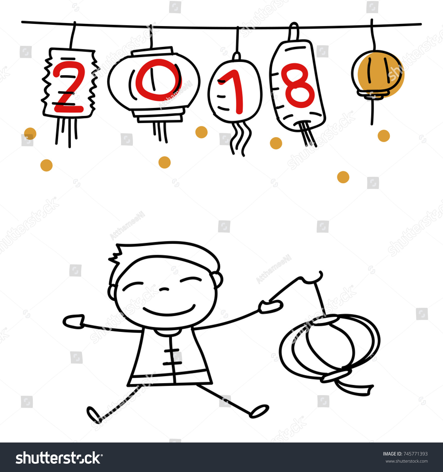 Hand drawing cartoon character chinese people stock vector hand drawing cartoon character chinese people boy holding lantern happy chinese new year 2018 buycottarizona Images