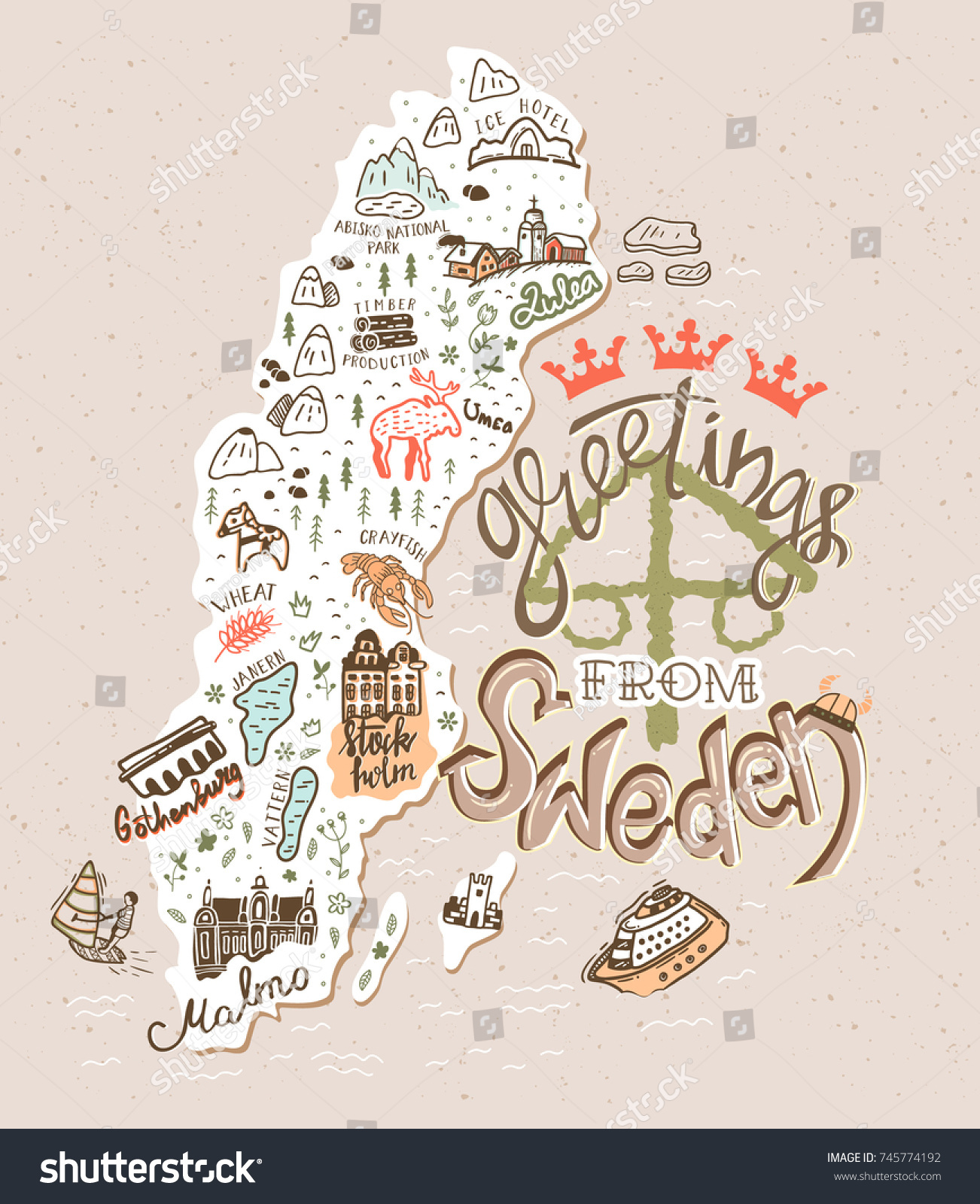 Hand Drawn Illustration Sweden Map Tourist Stock Vector 745774192
