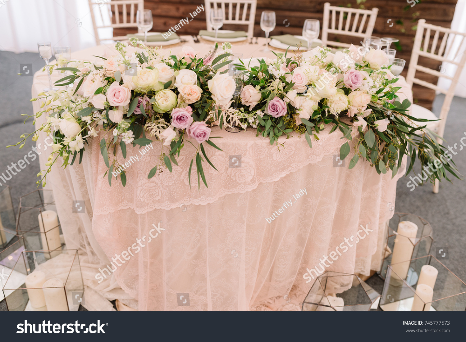 Wedding Floral Table Decoration Candles Transparent Stock Photo ...