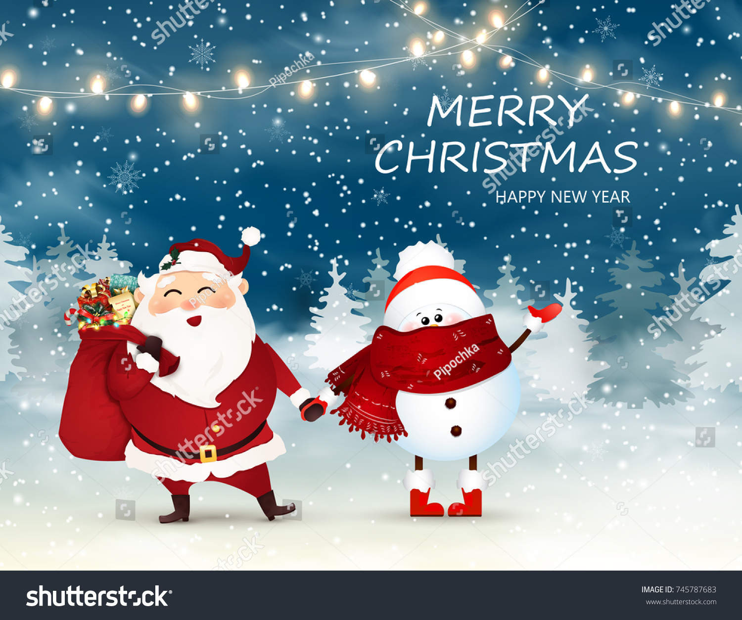 Merry Christmas Happy New Year Cute Stock Vector 745787683 ...