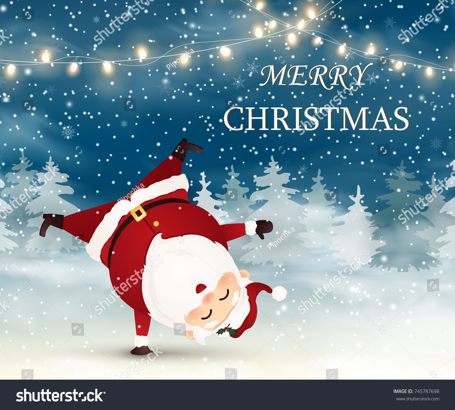 merry christmas cute cheerful santa claus standing on his arm in christmas snow scene