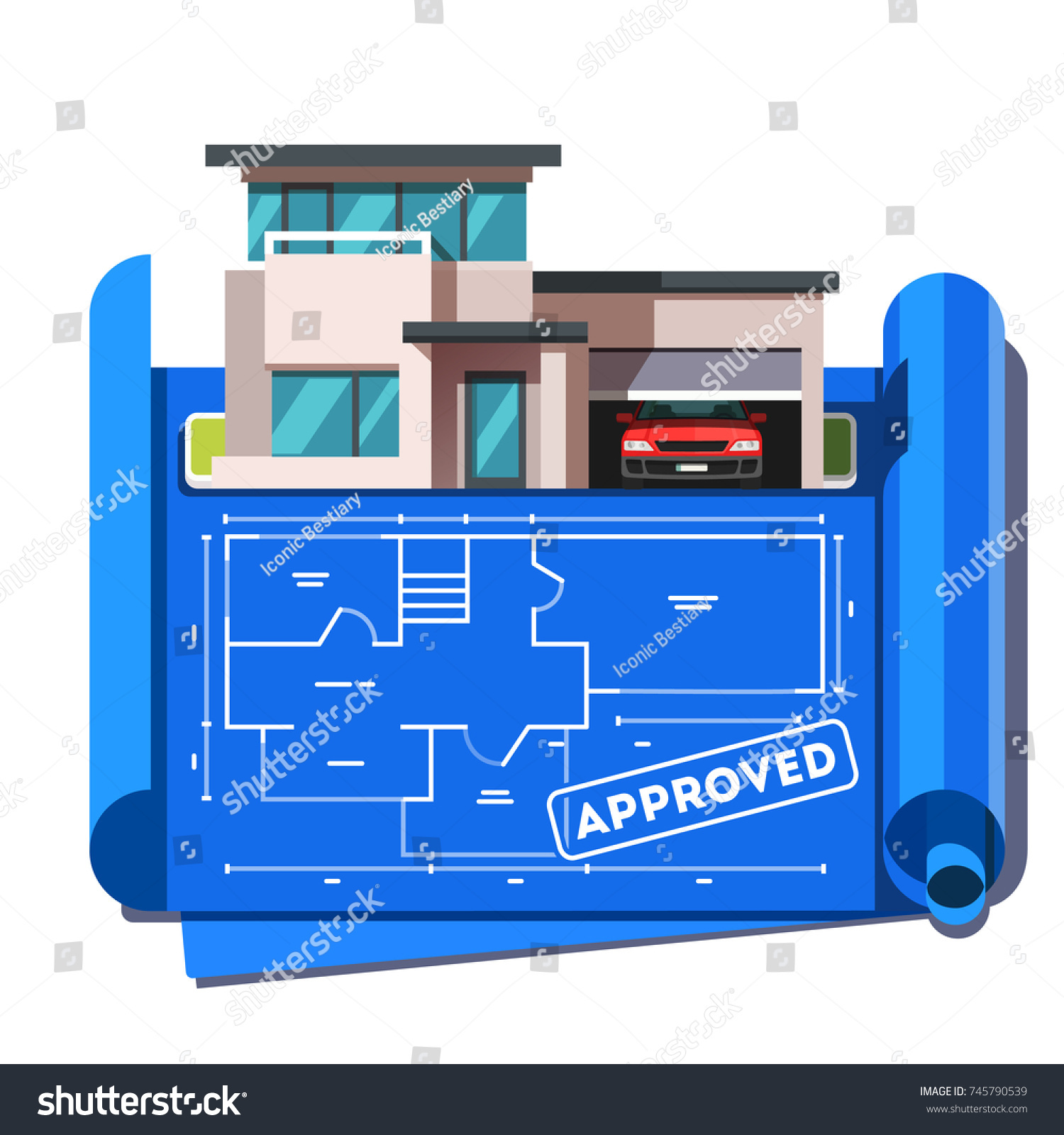 Architect floor plan blueprint modern contemporary stock vector architect floor plan blueprint of modern contemporary architecture style mansion building with car garage approved malvernweather Images