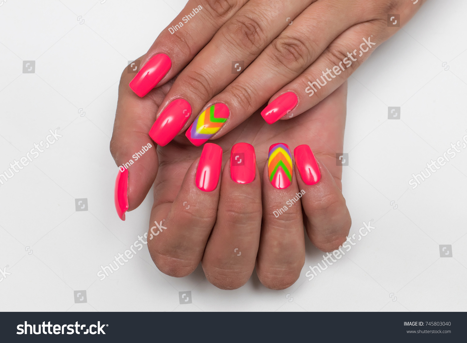 Pink Manicure On Long Square Nails Stock Photo (Royalty Free ...