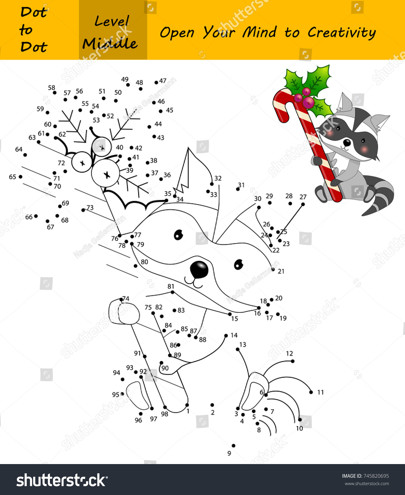 raccoon in a christmas time cute animal with xmas candy cane dot to dot