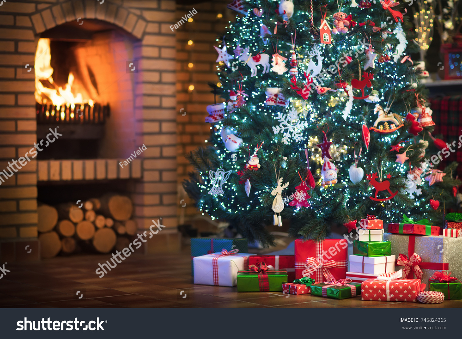 Christmas Home Interior Tree Fireplace Traditional Stock