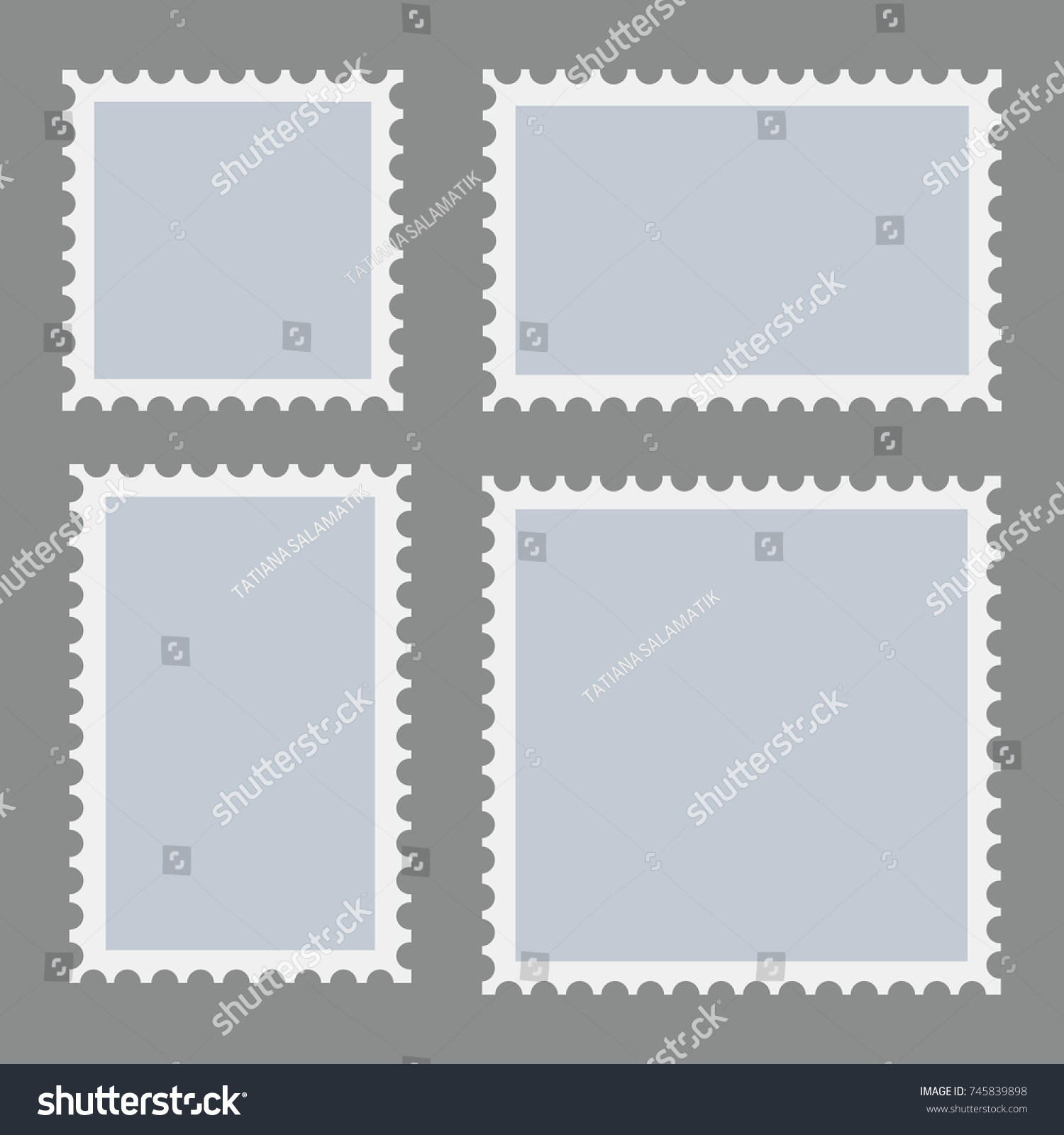 Blank Postage Stamps Template Set On Stock Vector (Royalty Free ...