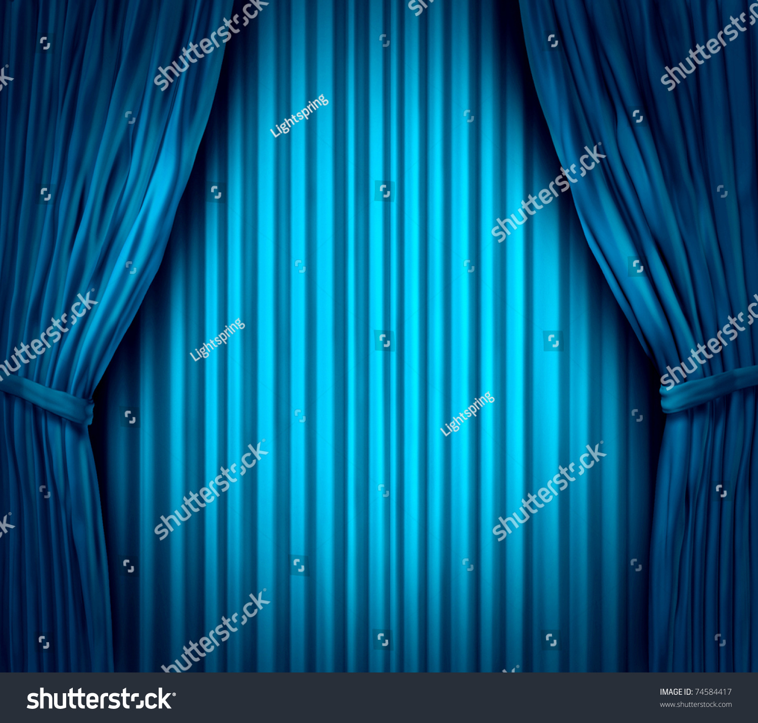 Light blue stage curtain - Theater Stage With Spot Light On Blue Velvet Cinema Curtain Drapes Preview Save To A Lightbox