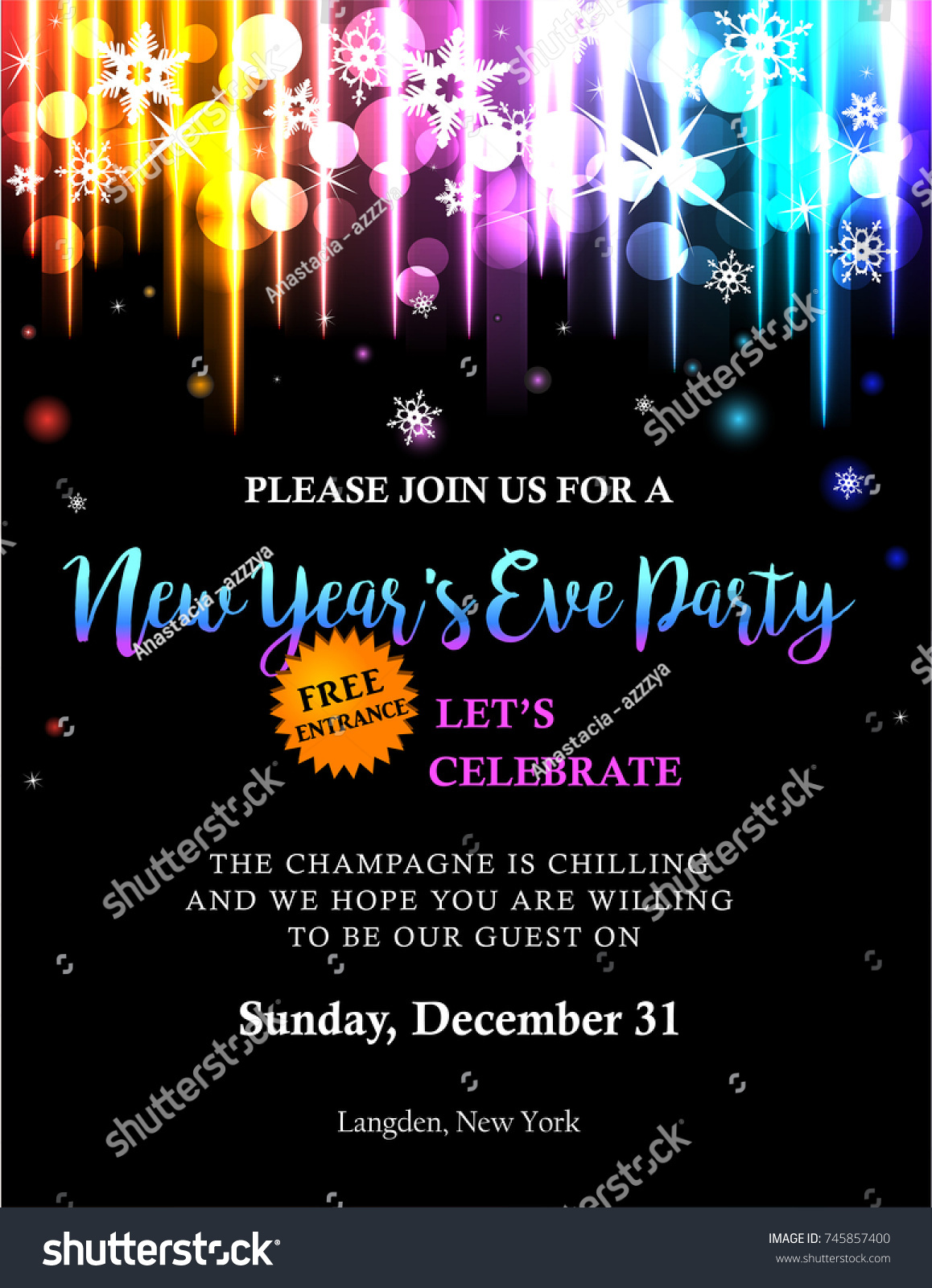 New Years Party Invitation Back Light Stock Vector 745857400 ...