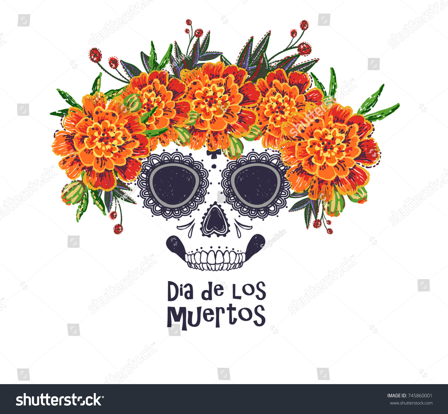 Vector Sugar Skull Marigold Flowers Wreath Stock Vector Royalty Free 745860001