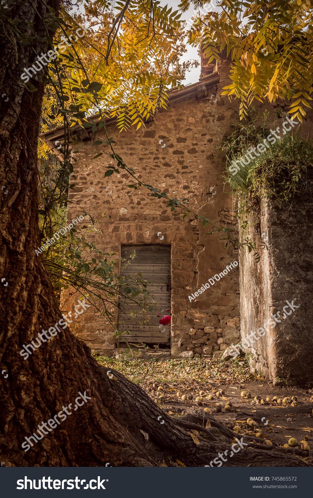 Medieval Riuns Inside Garden Ninfa Garden Stock Photo (Royalty Free ...