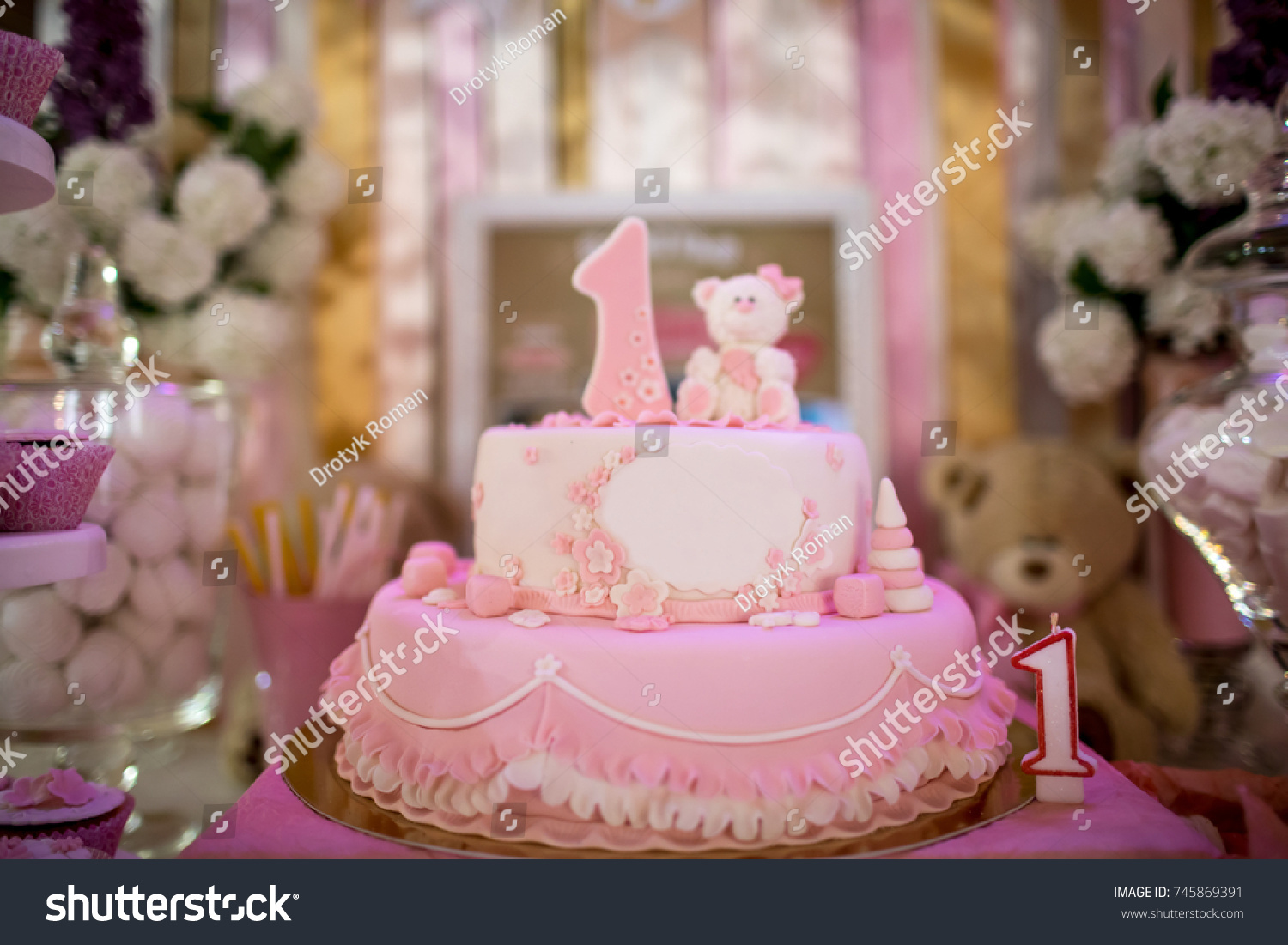 Birthday Cake 1 Year Old Child Stock Photo Edit Now 745869391
