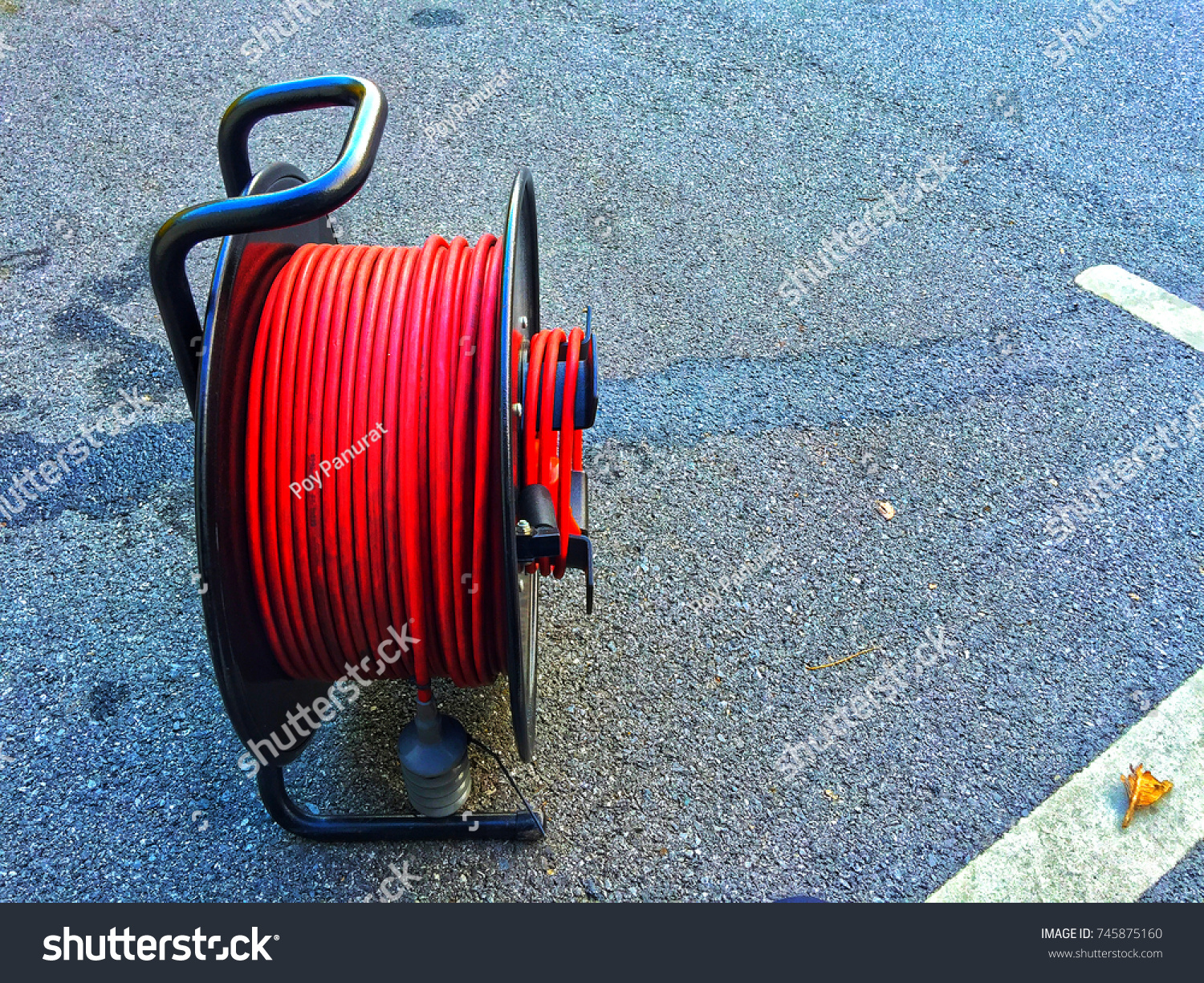 Black Extension Cord Reel Red Electric Stock Photo (Edit Now ...