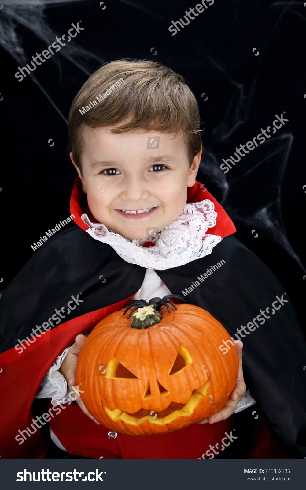 child with v&ire costume holding a pumpkin in a black background with spider web  sc 1 st  Shutterstock & Child Vampire Costume Holding Pumpkin Black Stock Photo (Royalty ...