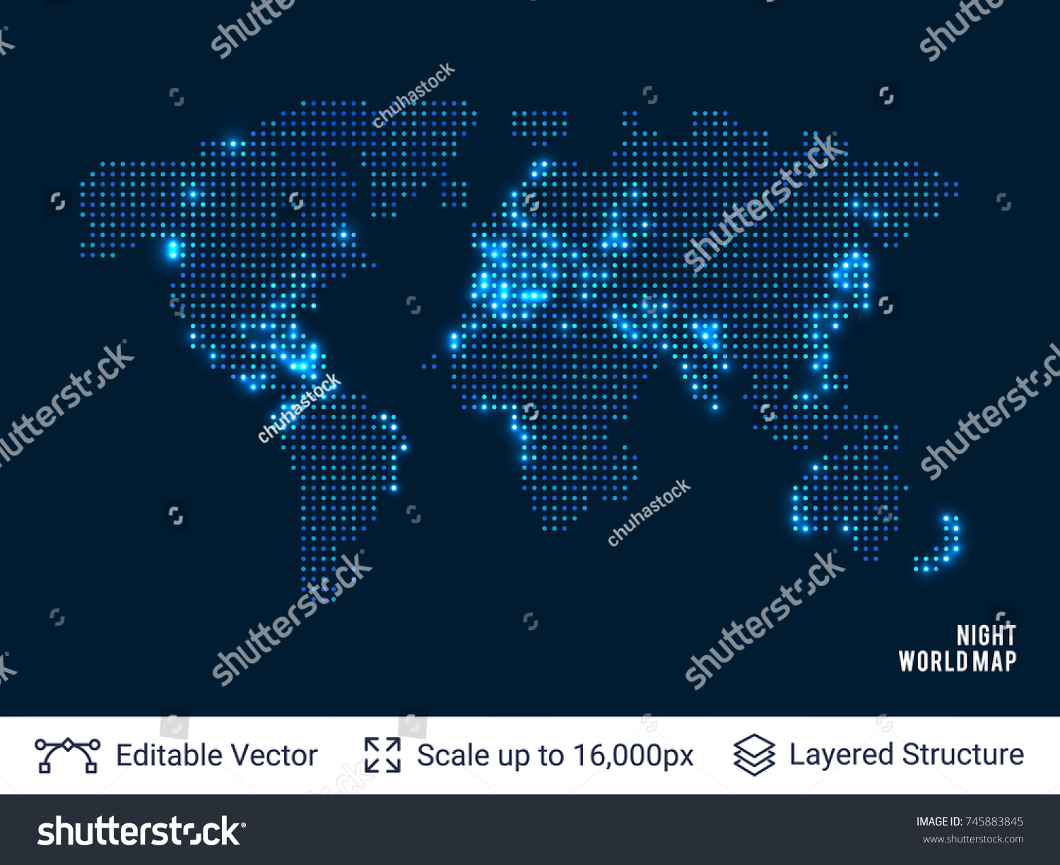 Dotted blank black world map world vectores en stock 745883845 dotted blank black world map world map vector design template flat earth map background gumiabroncs Images