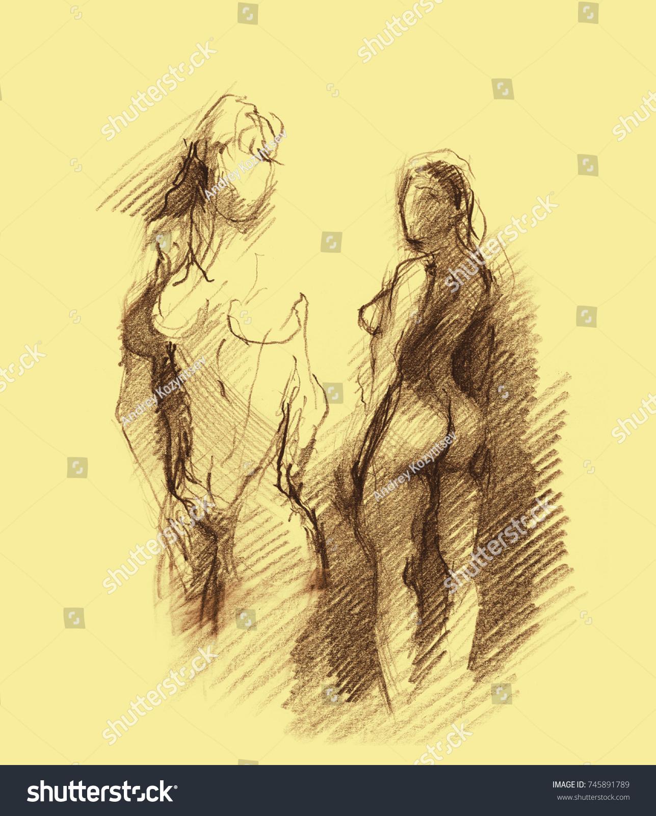 Nude woman pencil sketch