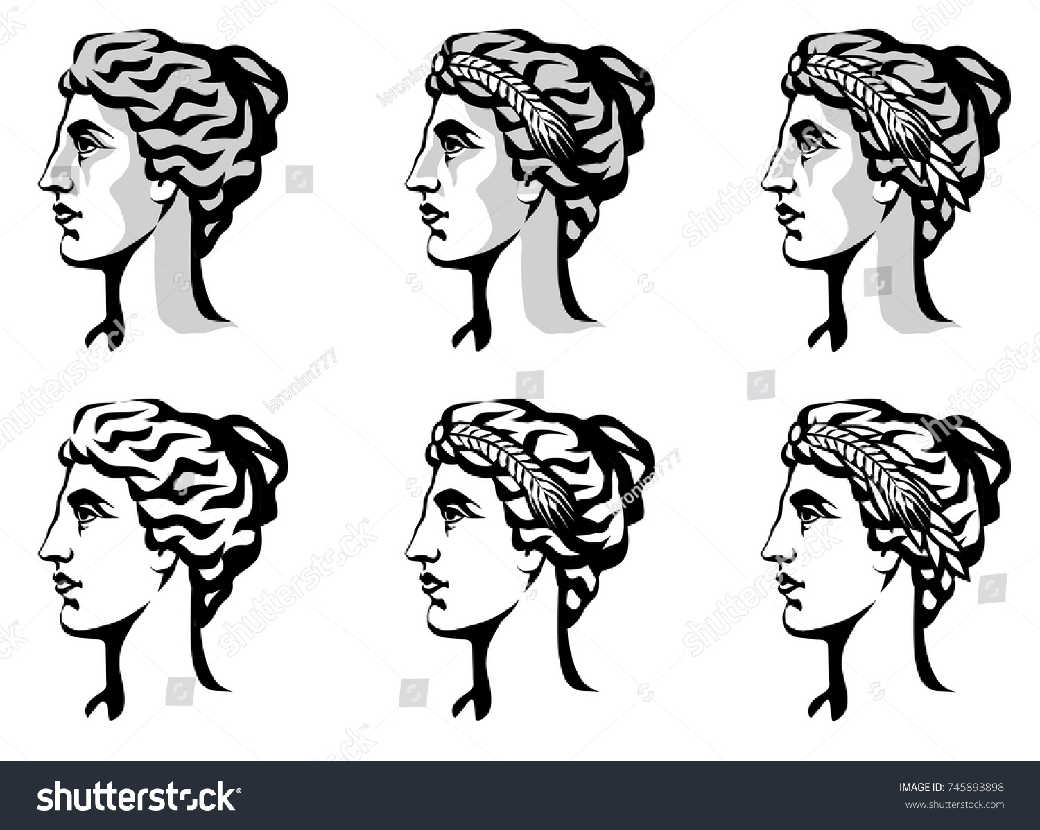 Vector black white graphic portrait ancient stock vector 745893898 vector black and white graphic portrait of the ancient greek goddess demeter roman ceres buycottarizona Image collections