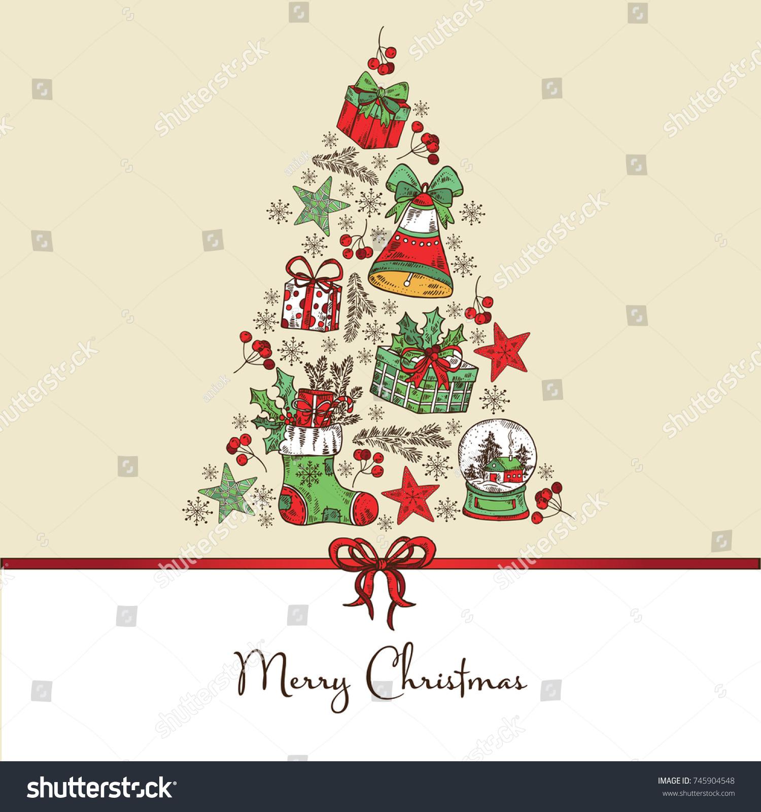 Christmas New Year Card Christmas Tree Stock Vector (Royalty Free ...