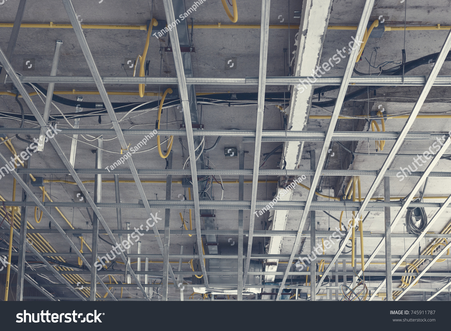 PVC Pipes Electrical Wiring Above Ceiling Stock Photo (Royalty Free ...