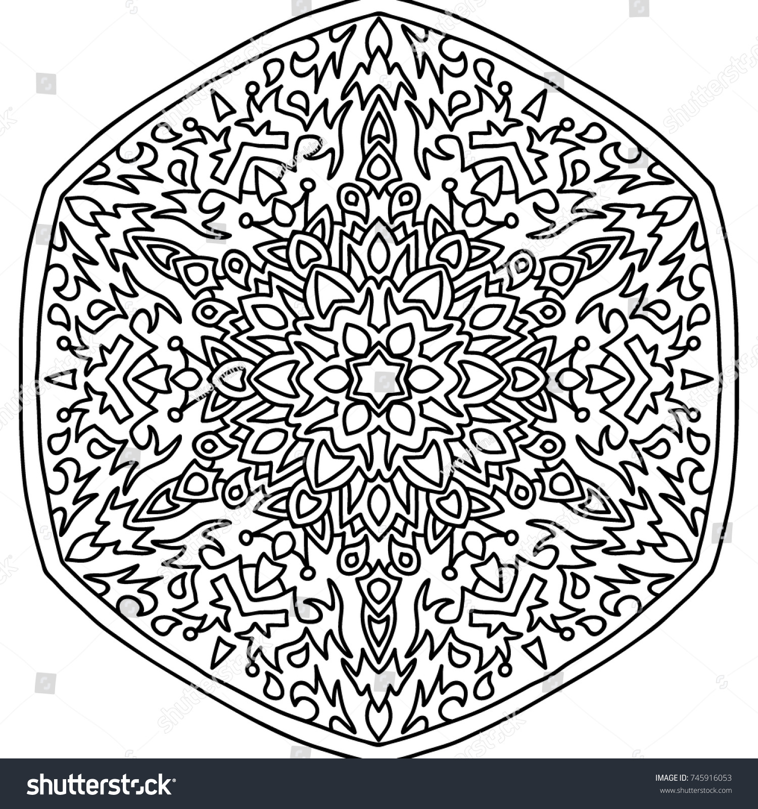 delicate snowflake adult coloring book page with flourish detailed ...