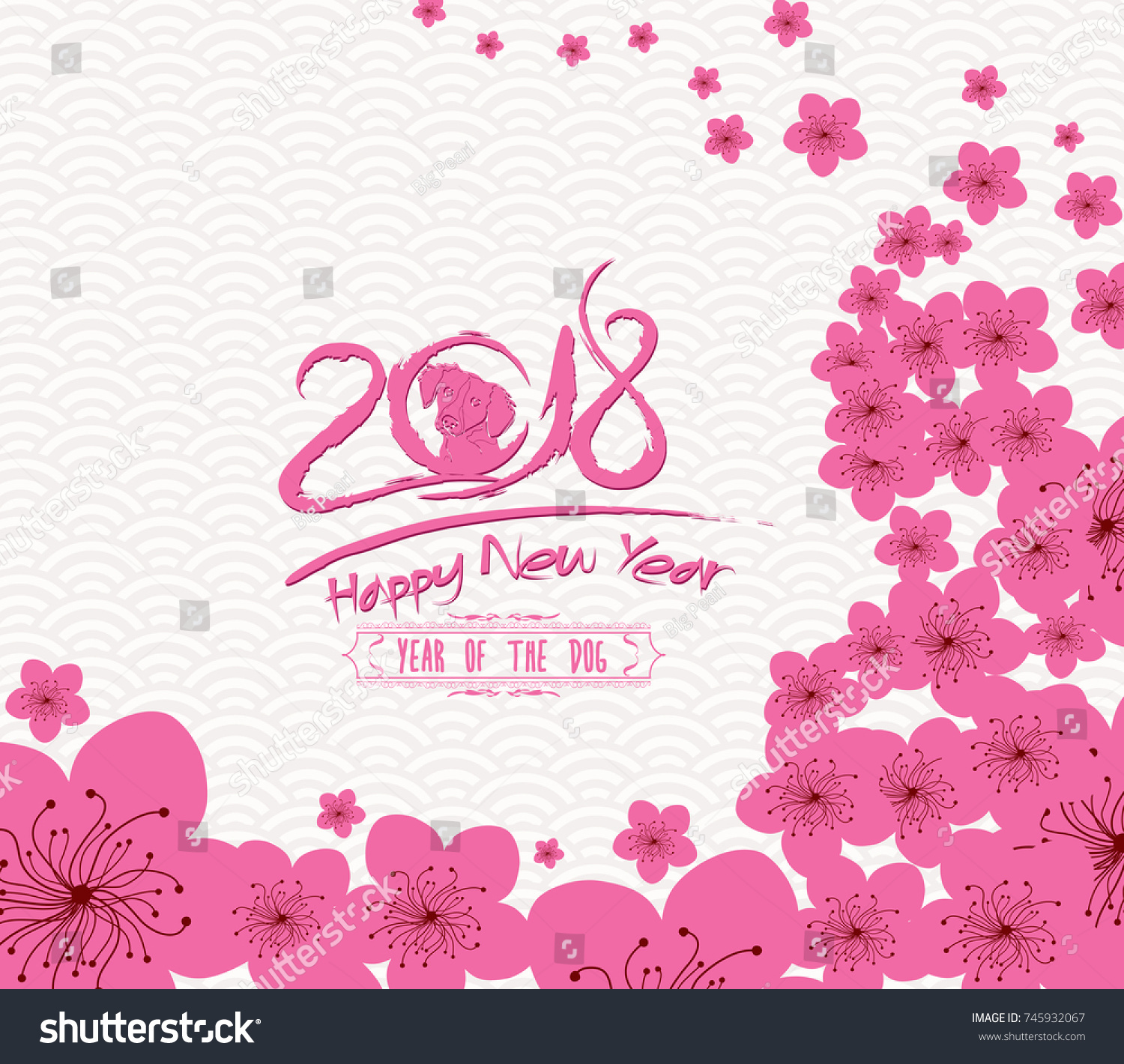 chinese new year 2018 plum blossom and rooster background year of the dog
