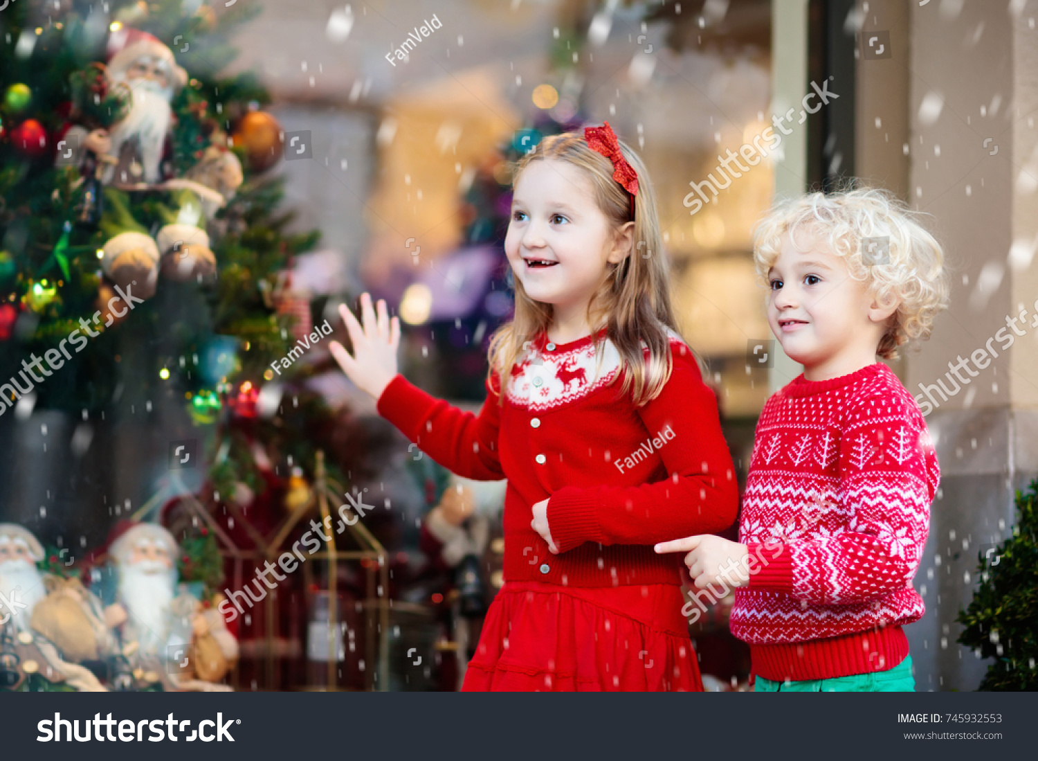 Kids Shopping Christmas Presents Children Buy Stock Photo (Edit Now ...