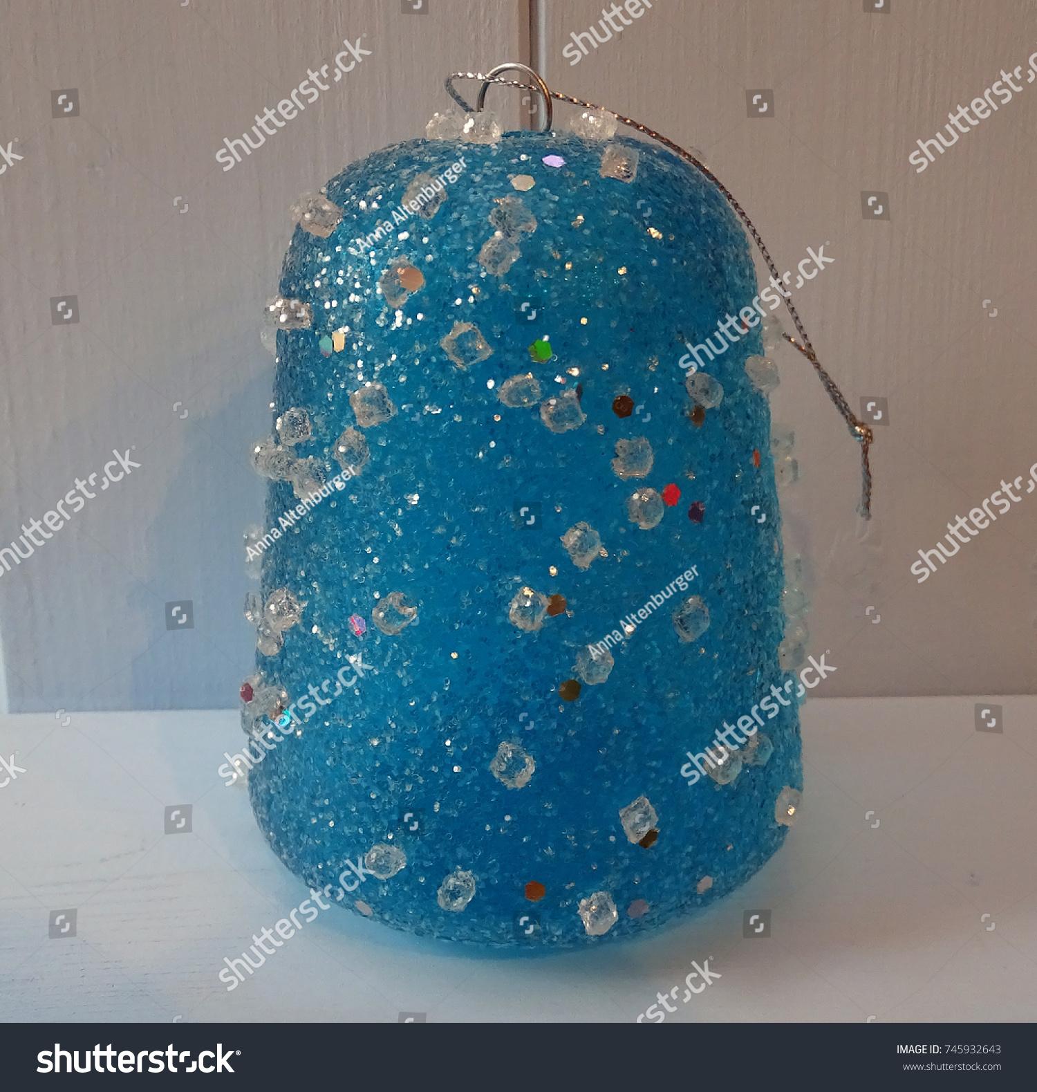Blue Gumdrop Christmas Ornament