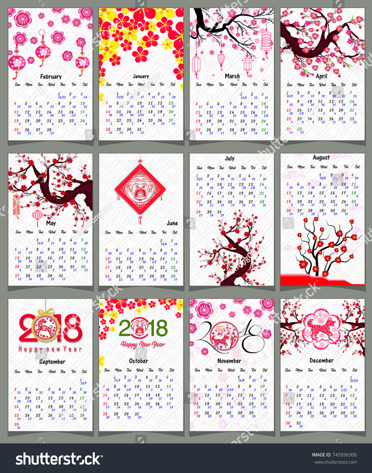 Lunar Calendar Chinese Calendar Happy New Stock Vector 745936300