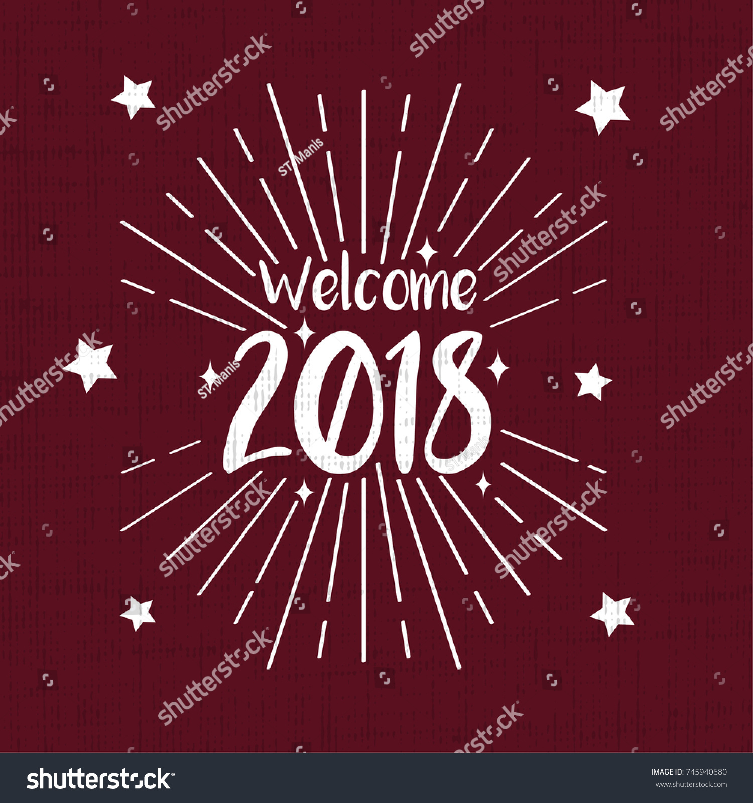 Welcome 2018 greeting card retro vintage stock vector 745940680 welcome 2018 greeting card with retro vintage red background kristyandbryce Choice Image