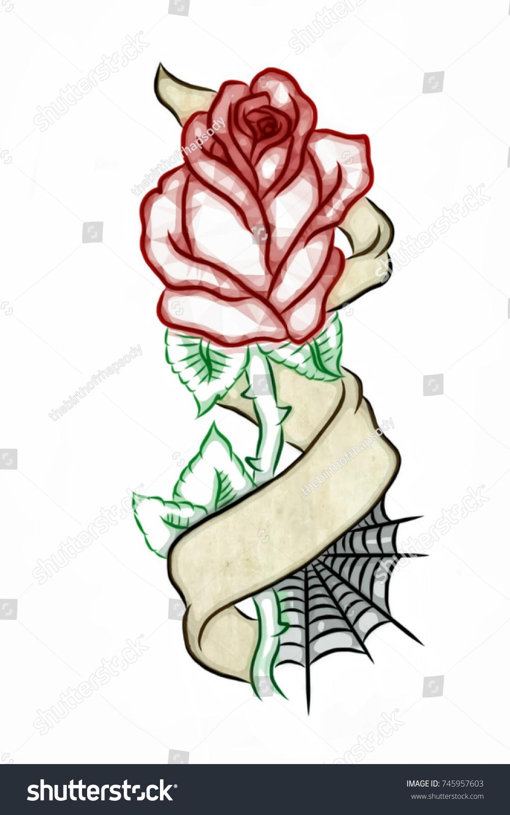 3 D Digitally Illustrated Rose Banner Tattoo Stockillustratie