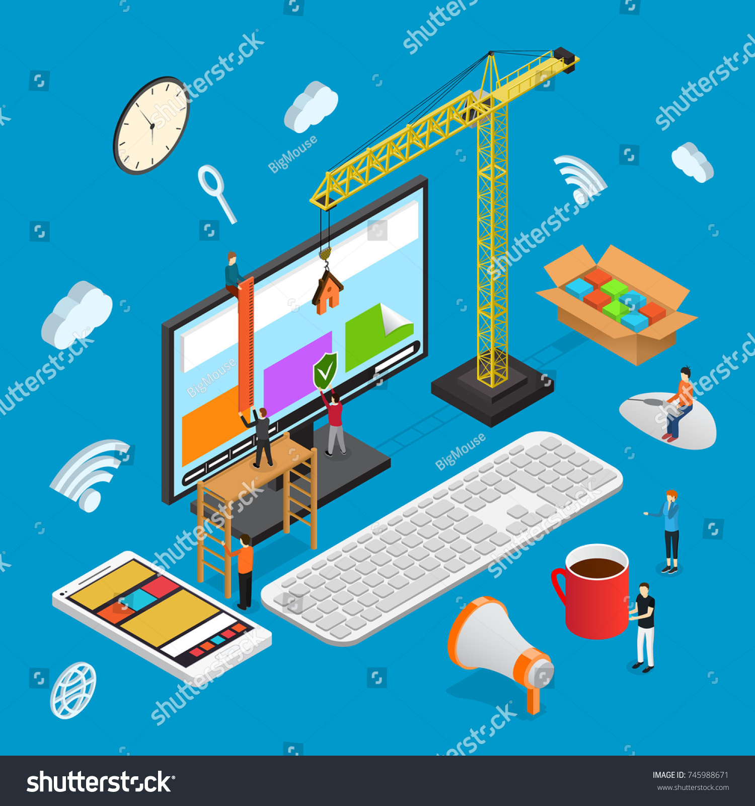 Design Usability Concept Isometric View Witch Stock Vector HD ...