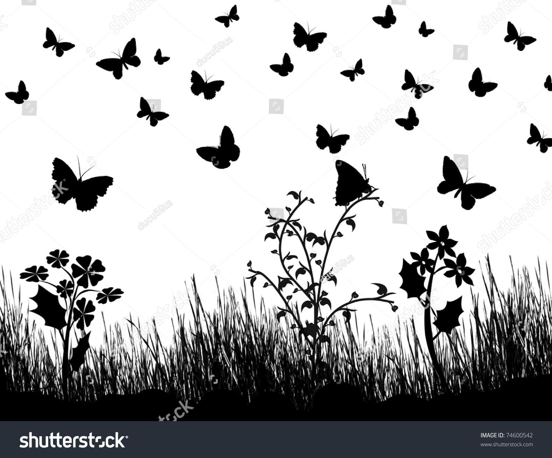 background silhouettes butterflies flowers grass vector stock