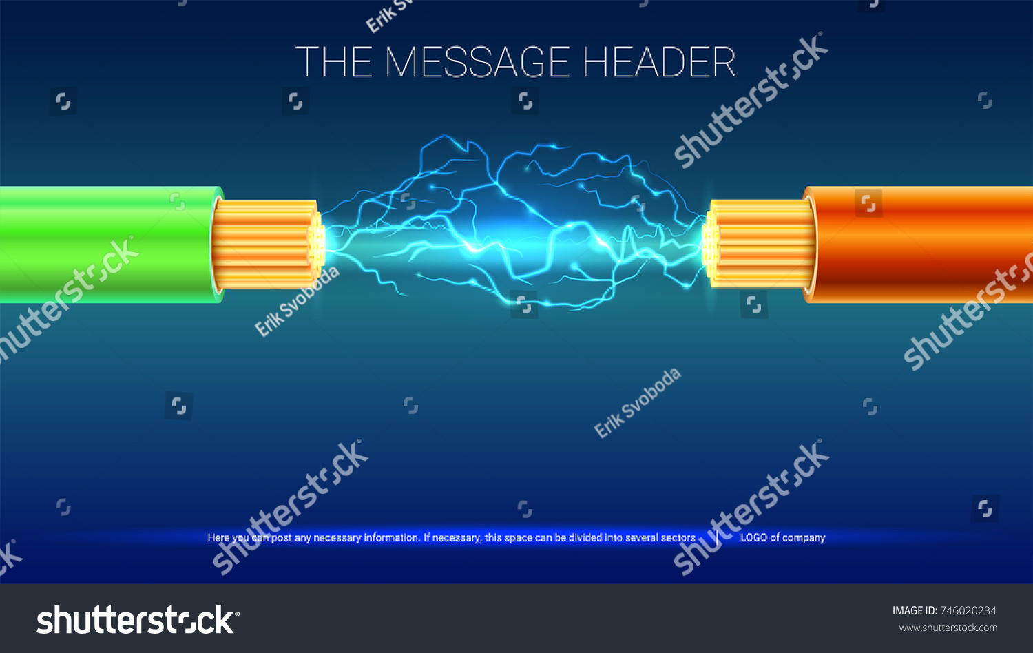 Electrical Spark Between Two Insulated Stranded Stock Vector ...