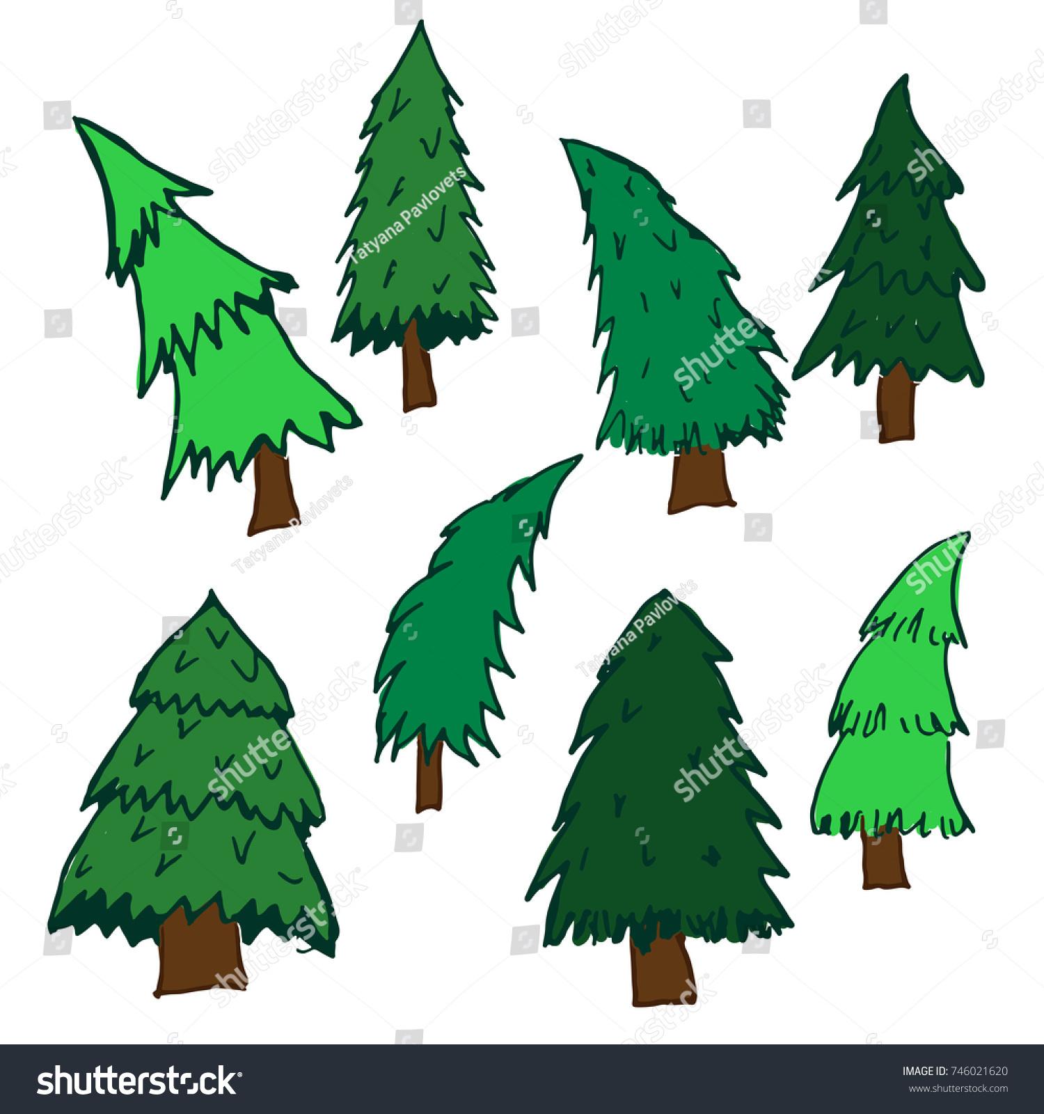 Christmas Tree Vector Set Cartoon Colored Stock Vector 746021620 ...