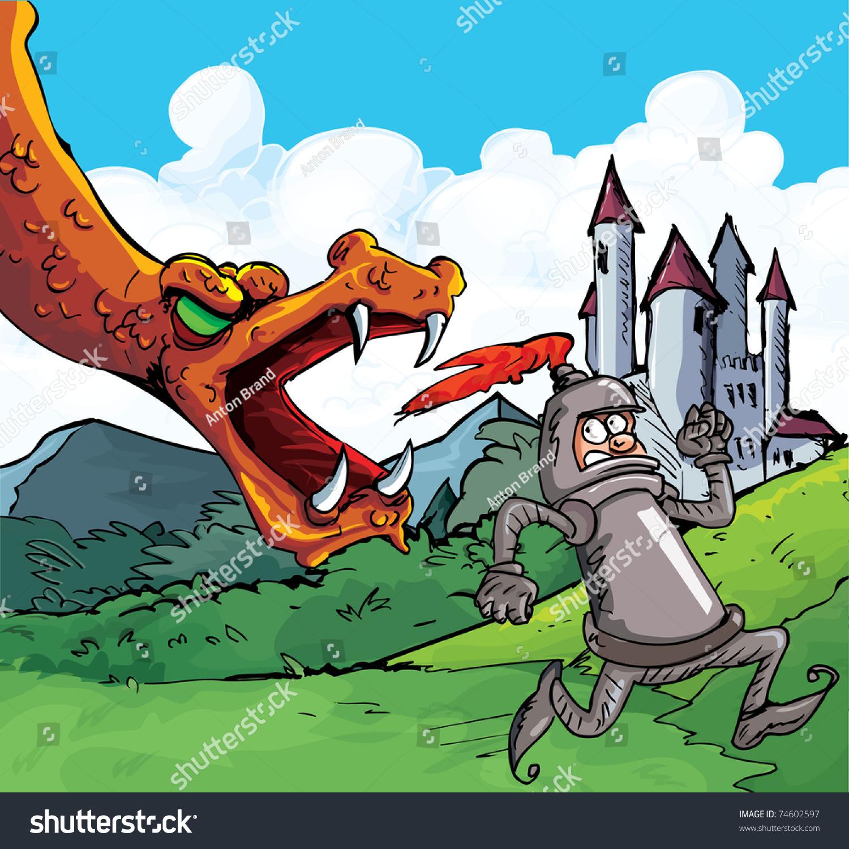 cartoon knight running fierce dragon castle stock vector 74602597