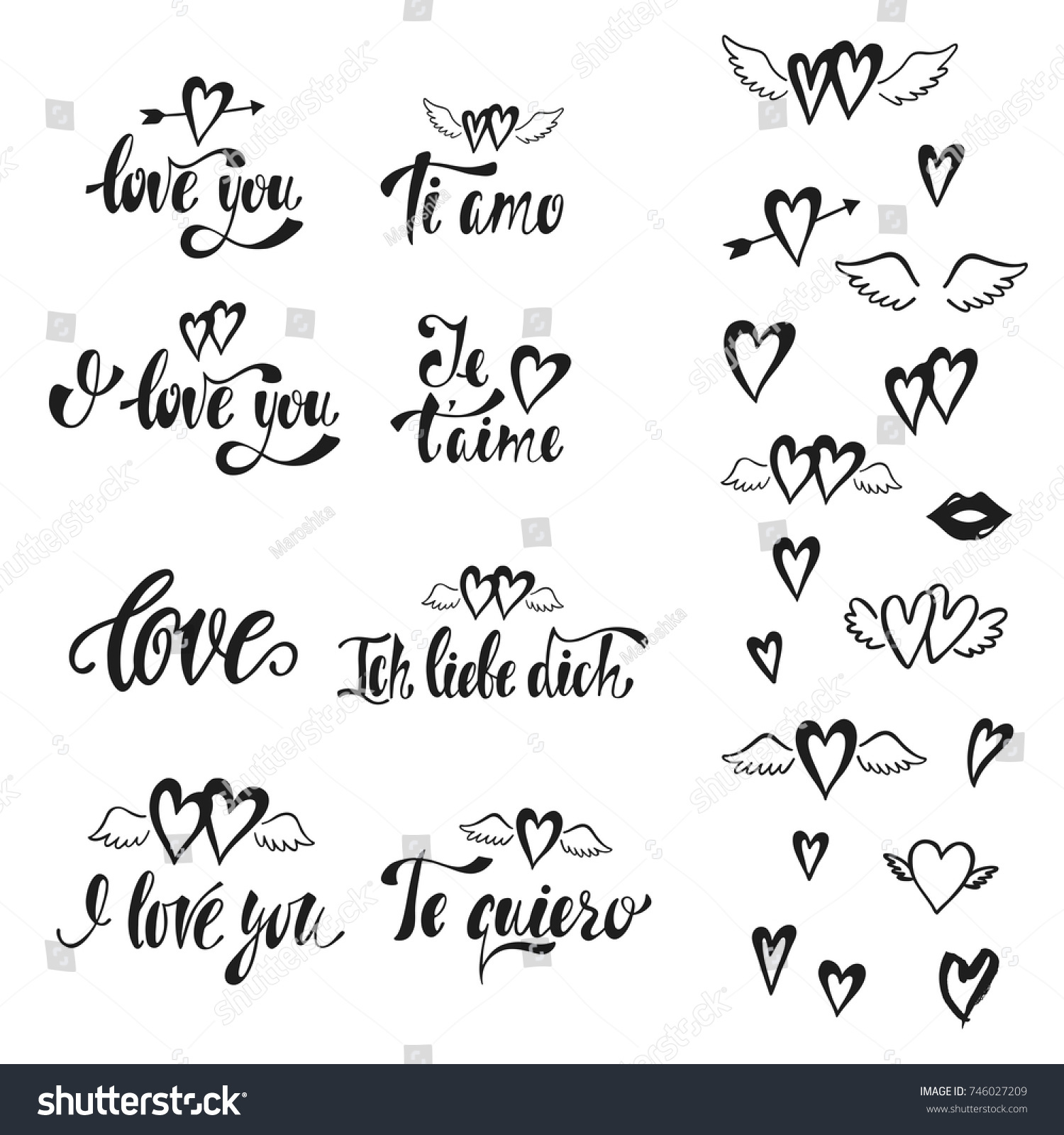Love you vector set hand drawn stock vector 746027209 shutterstock vector set of hand drawn lettering phrases in english german kristyandbryce Images