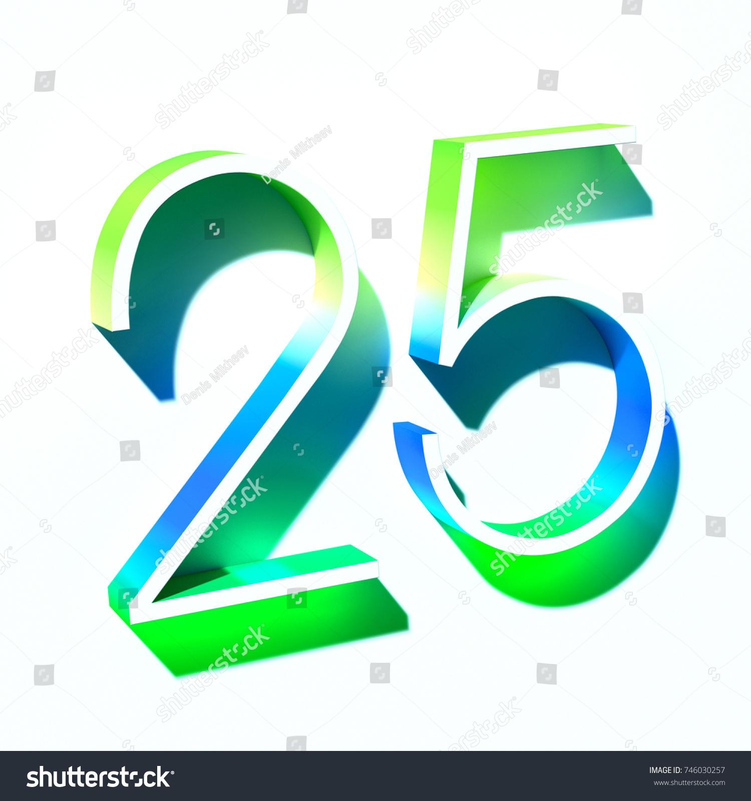Number Twenty Five 25 Blue Green Stock Illustration 746030257 ...