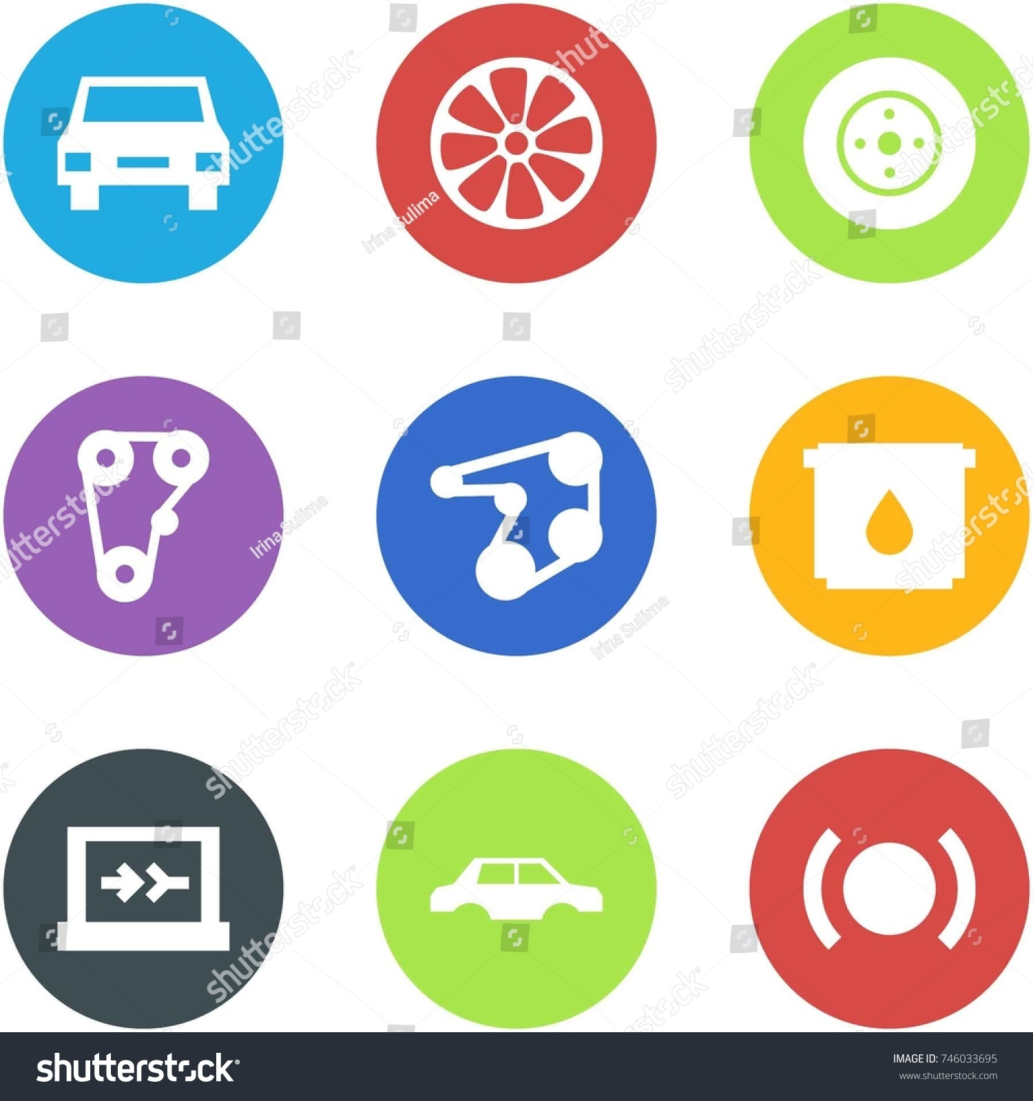 Origami corner style icon set car stock vector 746033695 origami corner style icon set car wheel disk brake disk engine belt biocorpaavc Gallery