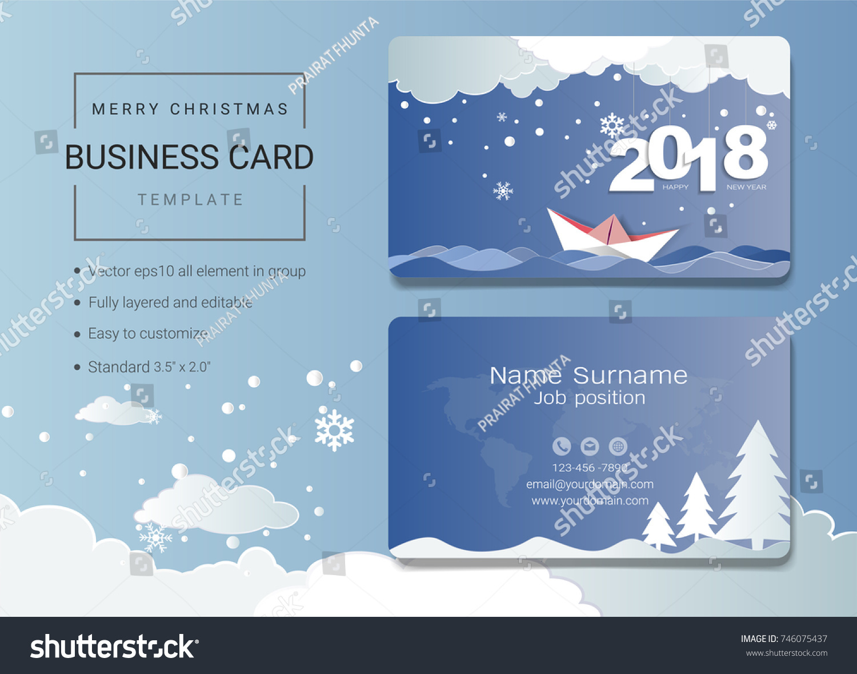 2018 Merry Christmas Name Card Design Stock Vector Royalty Free