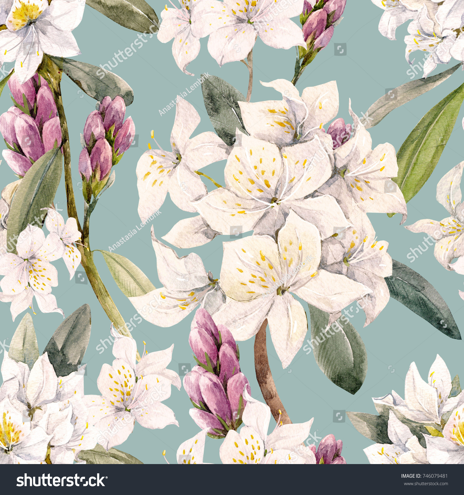 Watercolor Floral Tropical Pattern White Oleander Stock Illustration