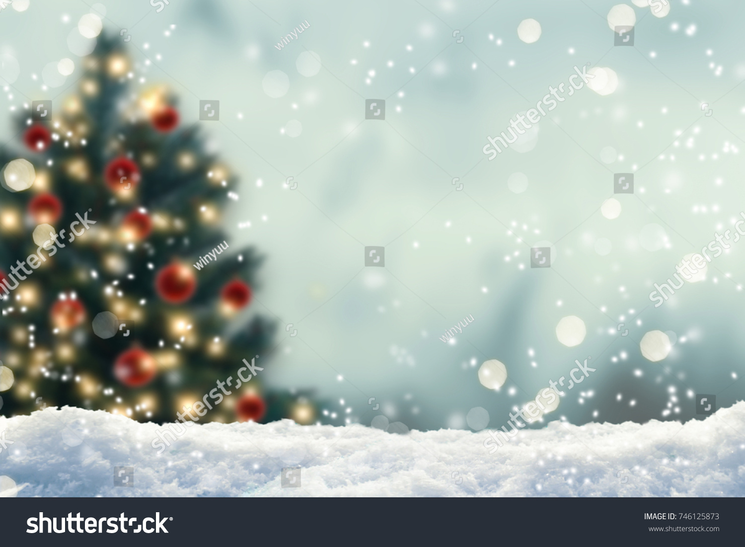 blurred christmas tree, snow, christmas, background #746125873 - 123PhotoFree.com
