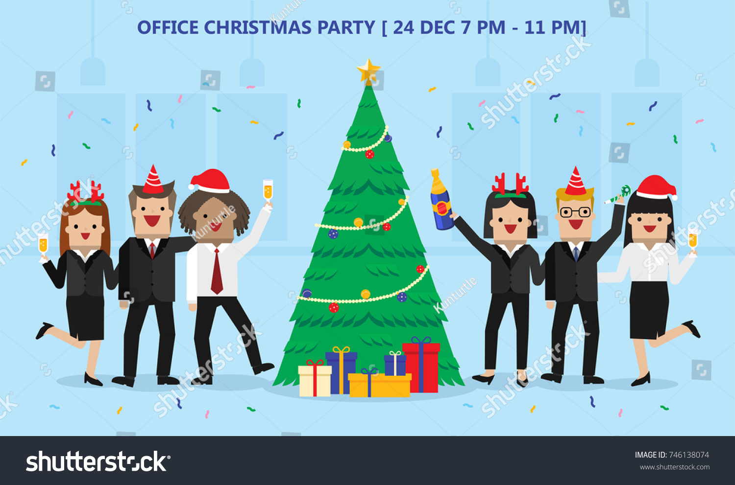 Illustration Vector Office Christmas Party Gift Stock Vector ...