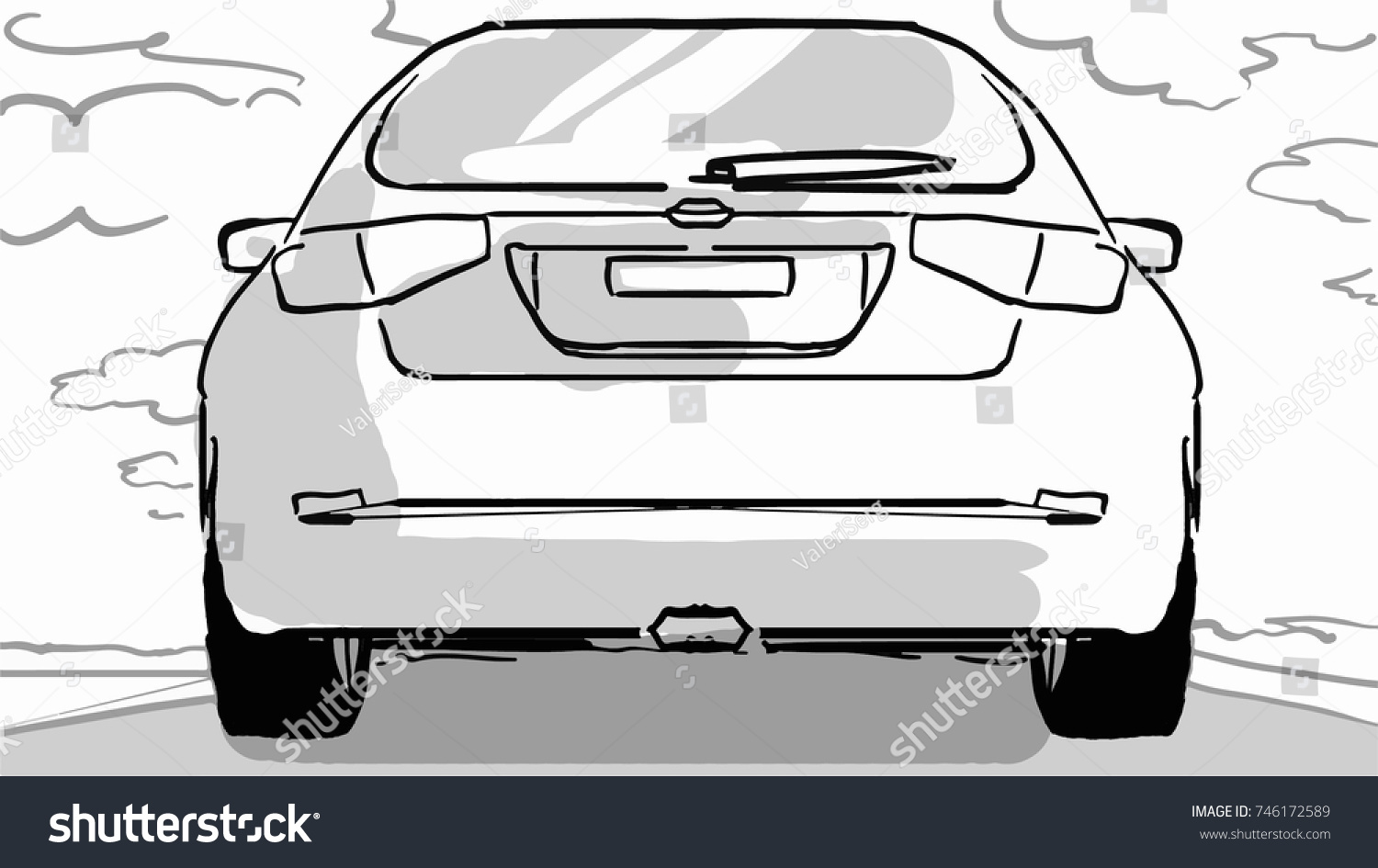 Car On Road Black White Vector Stock Vector 746172589 - Shutterstock