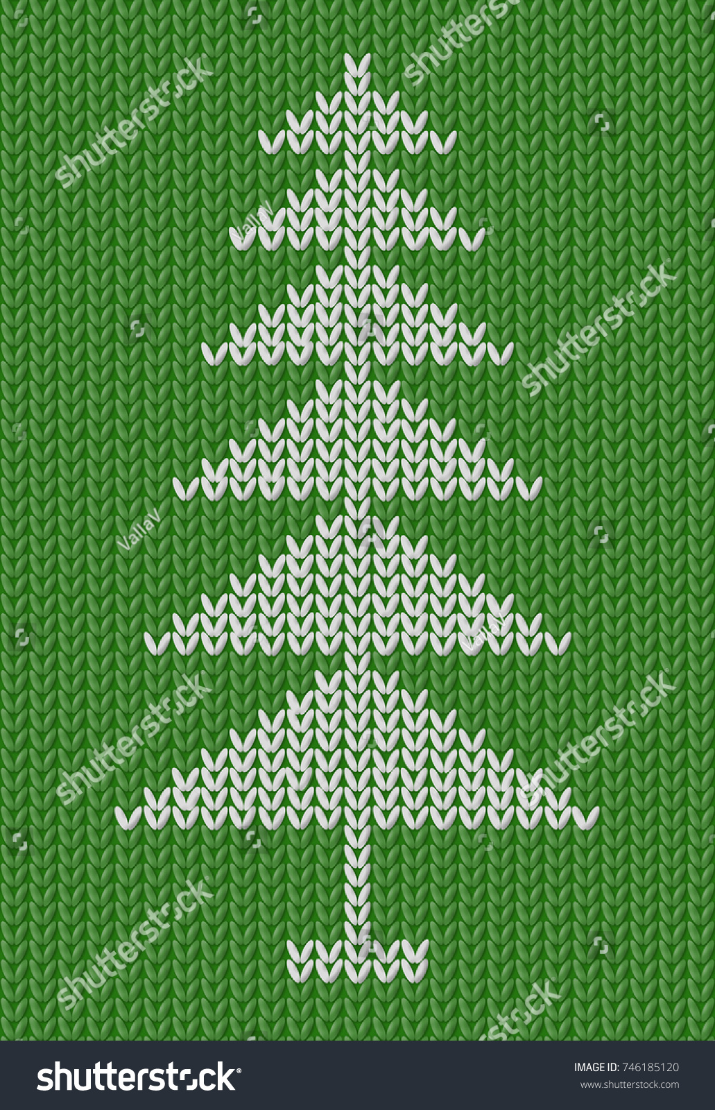Pattern Christmas Tree Knitted Wool By Stock Illustration 746185120 ...