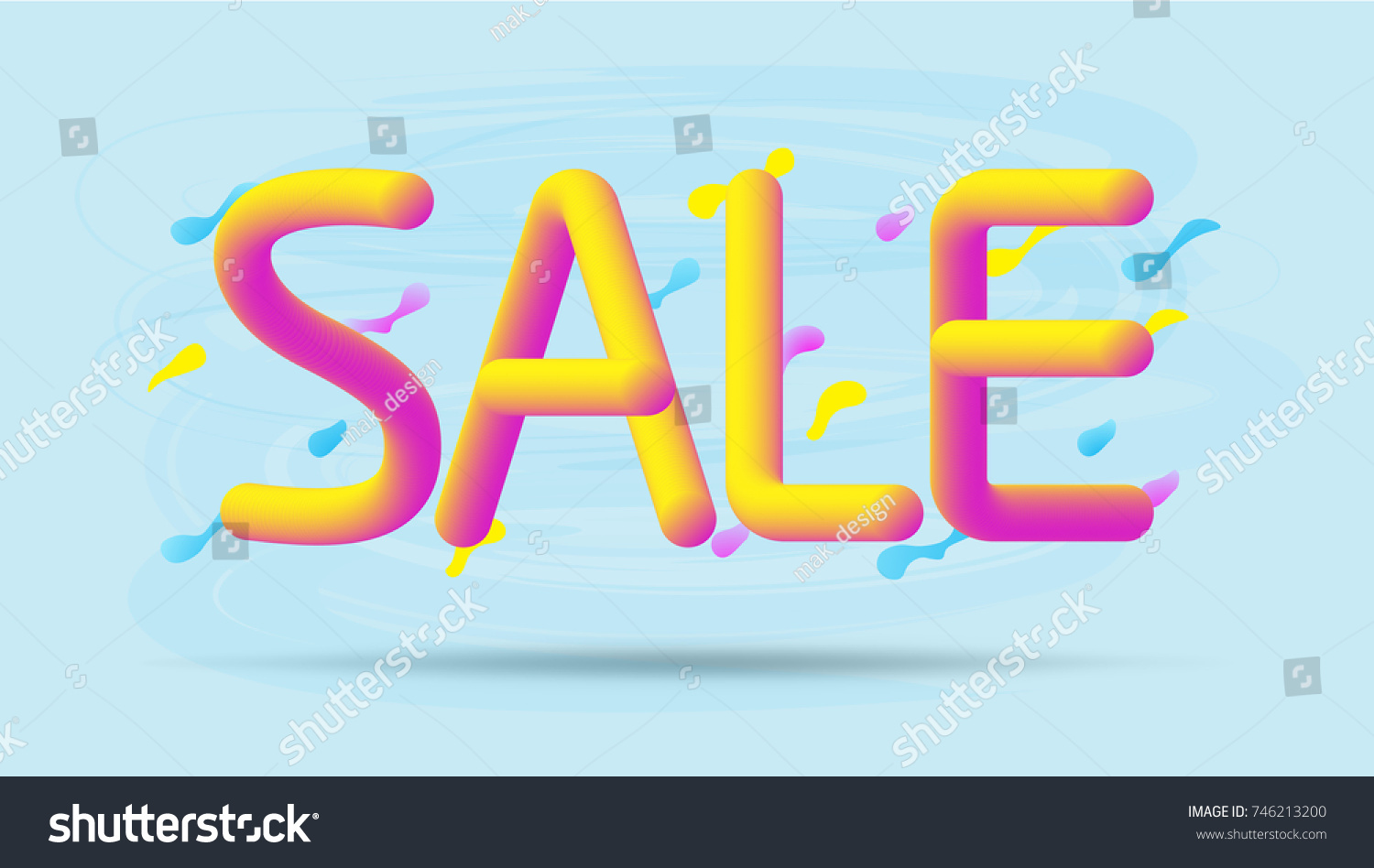 Sale Banner Template With Colorful Letters Pink And Yellow 3d Word Splash On