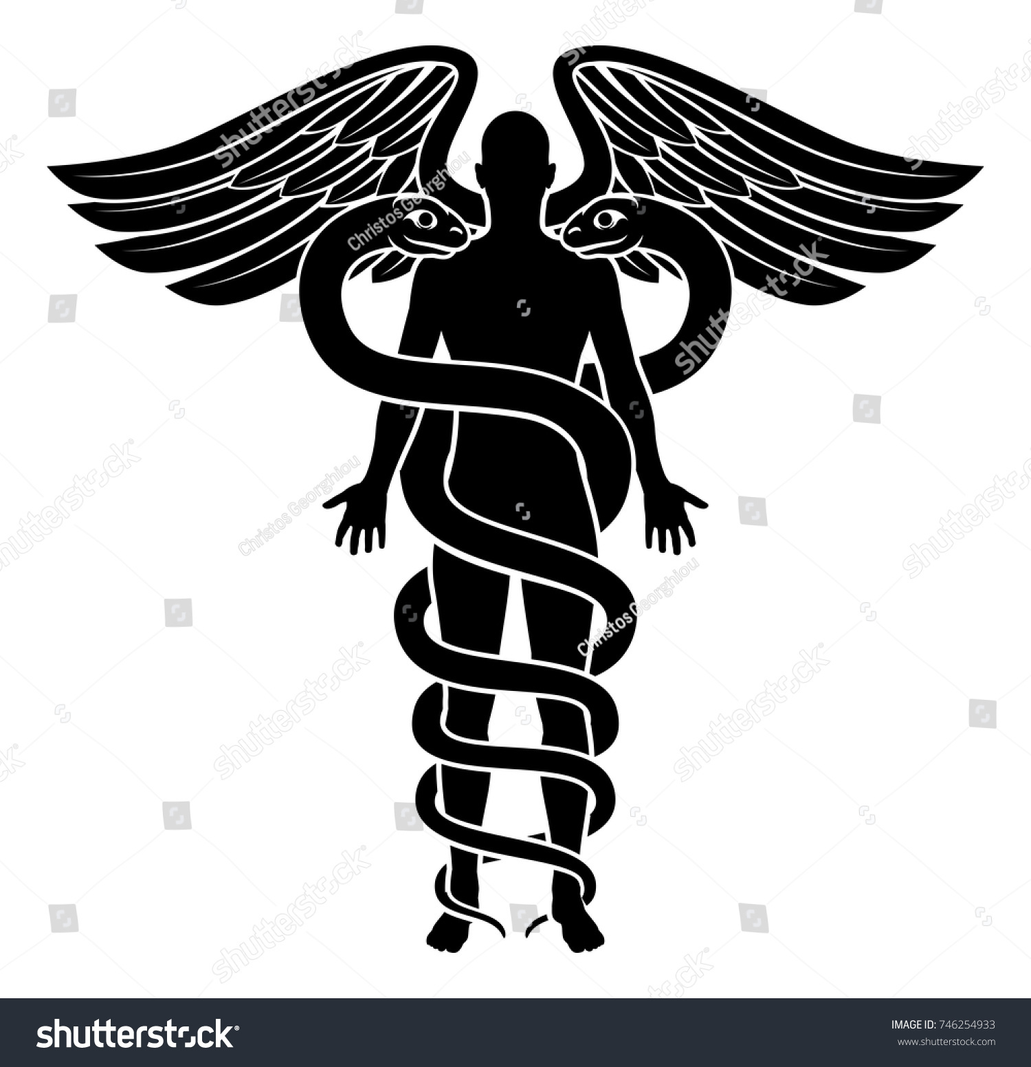 Caduceus medical symbol concept human person stock vector a caduceus medical symbol concept with a human person silhouette in the centre snakes bodies buycottarizona Image collections