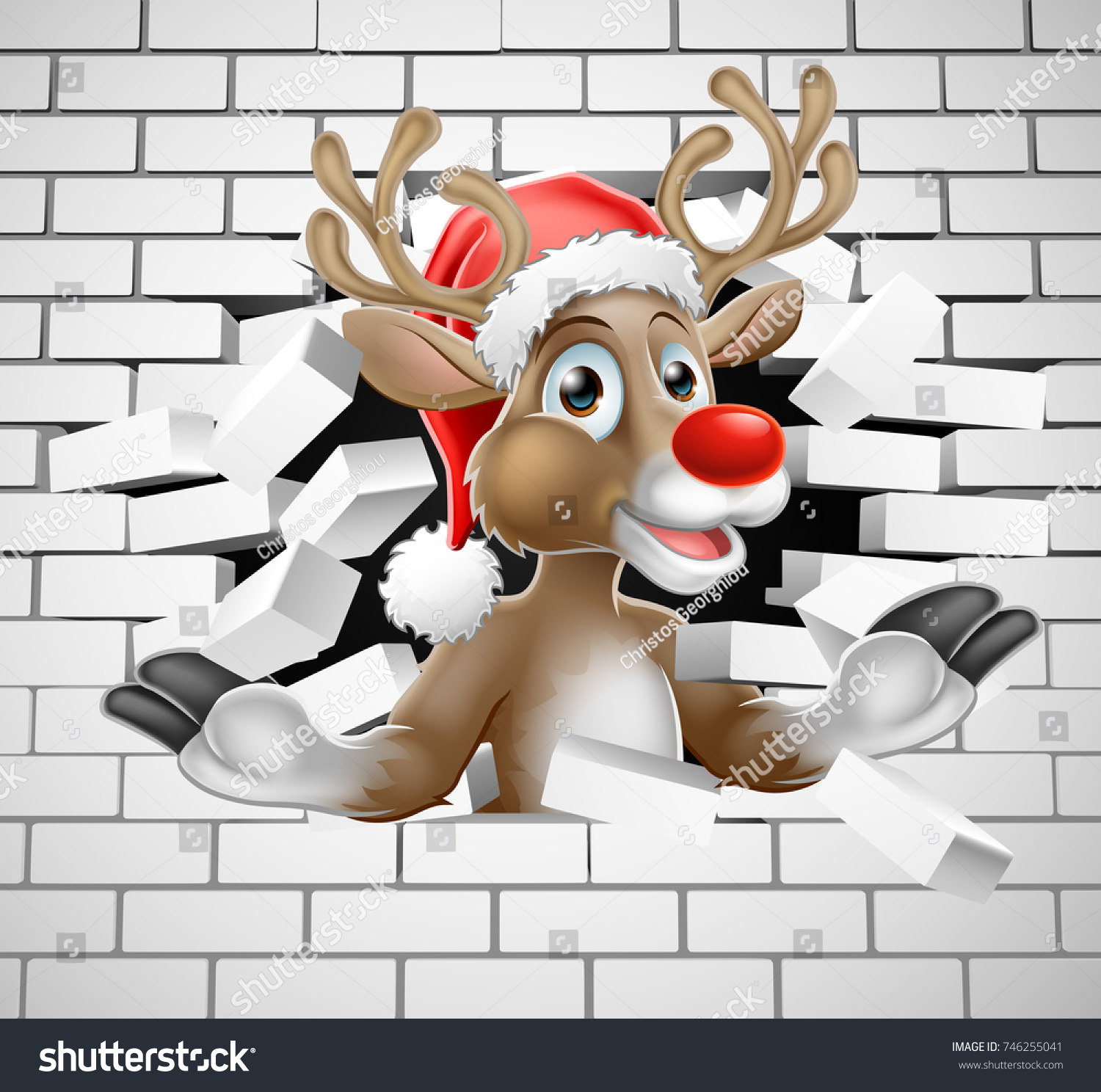 25fa8c2927e94 A Christmas illustration of Reindeer in Santa Hat cartoon character  breaking through a wall background - Vector