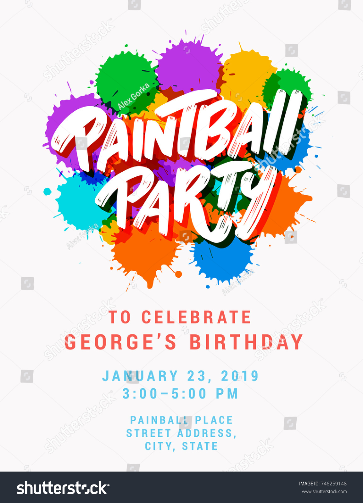 Paintball Party Invitation Template Stock Vector 746259148 ...