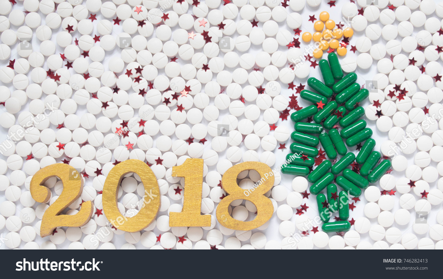 Happy New Year 2018 Medical Health Stock Photo 746282413