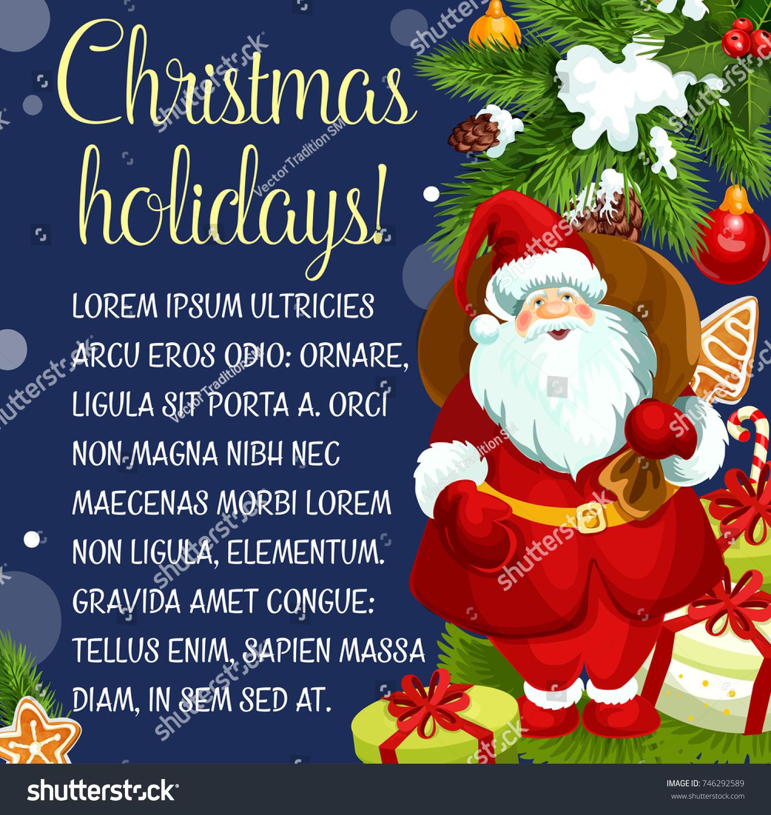 Merry Christmas Greeting Happy Holidays Santa Stock Vector Royalty