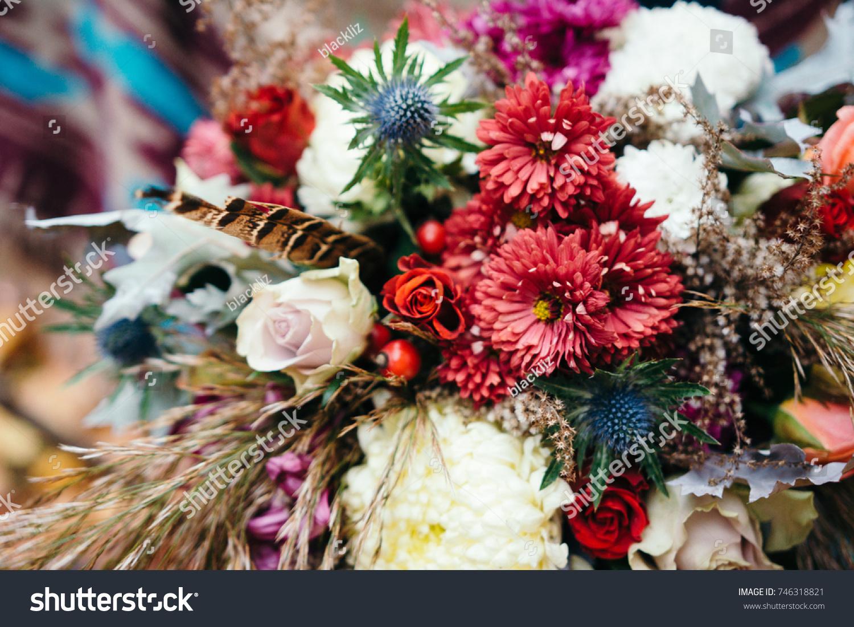 Bunch Fresh Flowers Marsala Colors Boho Stock Photo & Image (Royalty ...